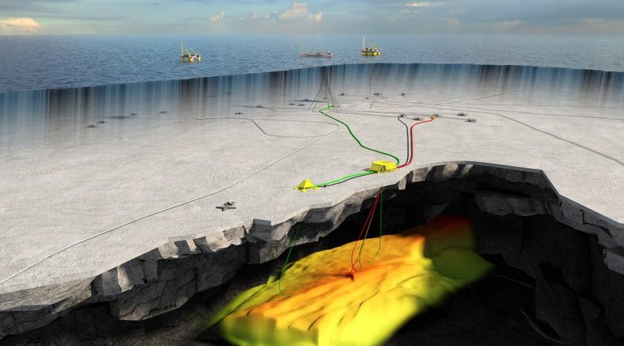Trestakk befinner seg ca. 20 kilometer sør for Åsgard-feltet, på rundt 300 meters dybde. Illustrasjon: Statoil