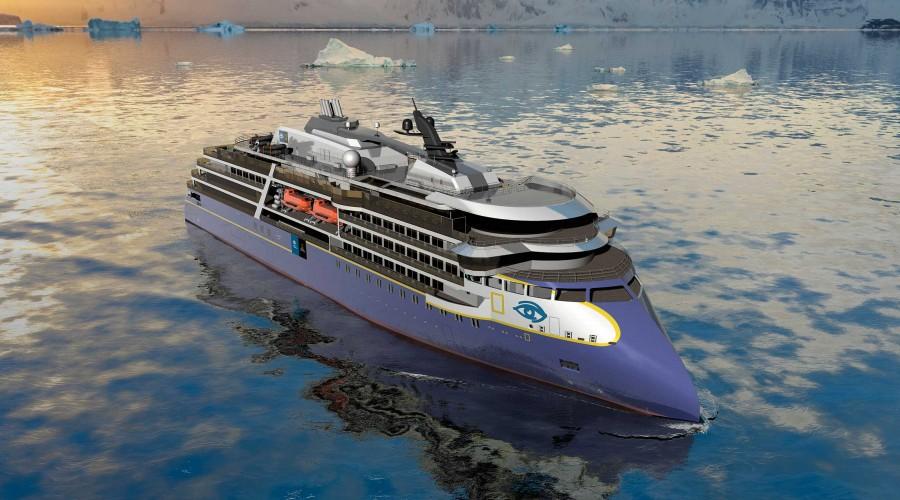Ekspedisjonsskipet er designa av Ulstein. Skipet skal byggast på Ulstein Verft og vert det første polare nybygget i flåten til Lindblad Expeditions-National Geographic. Illustrasjon: Ulstein