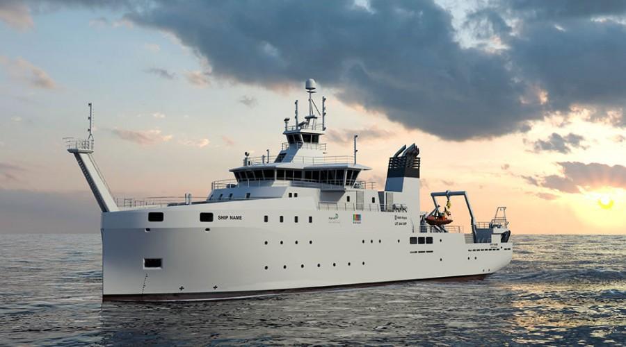 Det nye forskningsskipet blir av type UT 844 WP. Illustrasjon: Rolls-Royce Commercial Marine