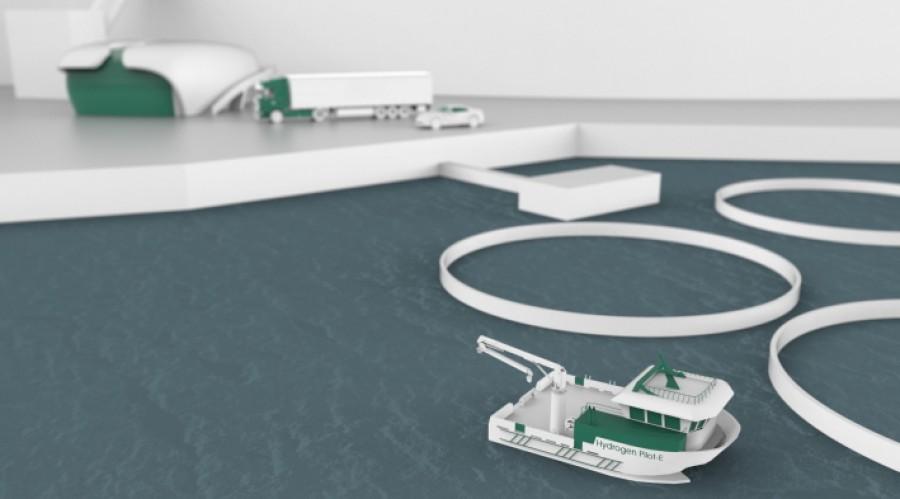 Pilot-E er et finansieringstilbud til norsk næringsliv, etablert av Forskningsrådet, Innovasjon Norge og Enova. Nå bidrar Pilot-E til å realisere en hydrogendrevet oppdrettsbåt. Ill.: Moen Verft