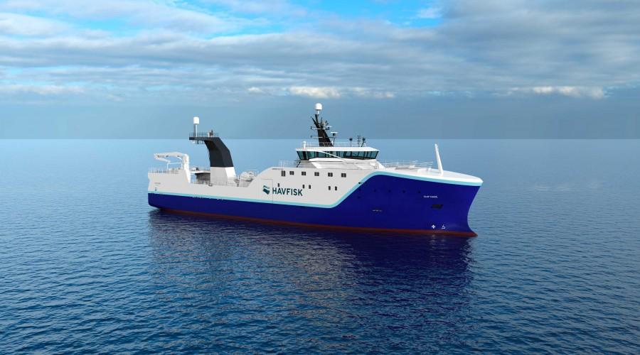 Vard Søviknes bygger en ny tråler med 8 02-design til Havfisk. Arbeidstegning: Vard Design