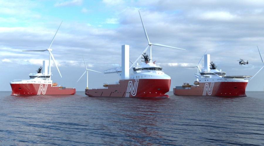 The Platform Supply Vessel is of Vard 1 08 design with a length of 81 meters and a beam of 18 meters. The vessel will be converted to a Service Operation Vessel (SOV) outfitted for offshore wind farm operations. Illustration: Vard.