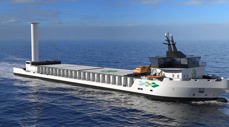 Vard Zerocoaster er et konsept som er utviklet av Vard Design som en mulig løsning på verdens første utslippsfrie frakteskip. Illustrasjon: Vard Design