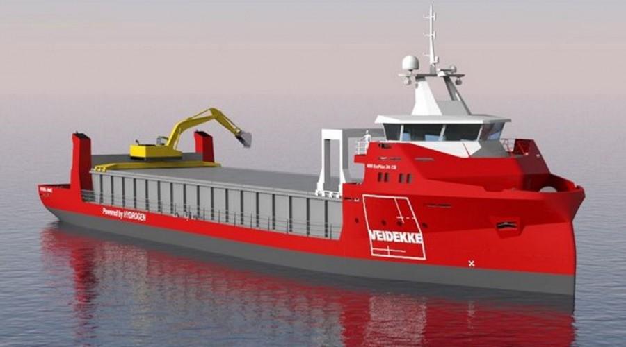 Veidekke vil flytte mye av sin transport av asfalt, grus og pukk langs kysten over på nye, miljøvennlige skip. Illustrasjon: Veidekke / GSP.