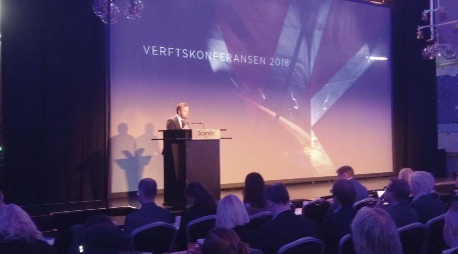 Næringsminister Torbjørn Røe Isaksen under åpningen av Verftskonferansen. Foto: Kurt W. Vadset