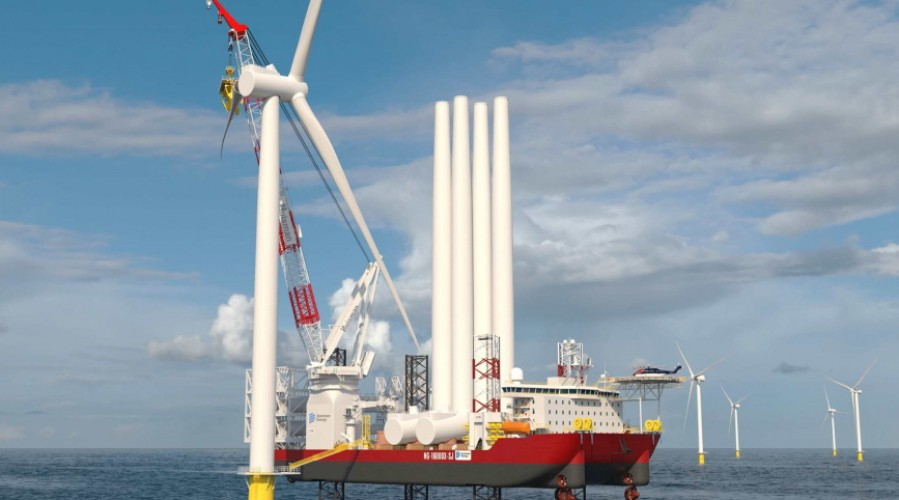 The new WTIV will be able to transport and install several sets of next-generation wind turbines and their foundations. Illustration: Kongsberg Maritime.