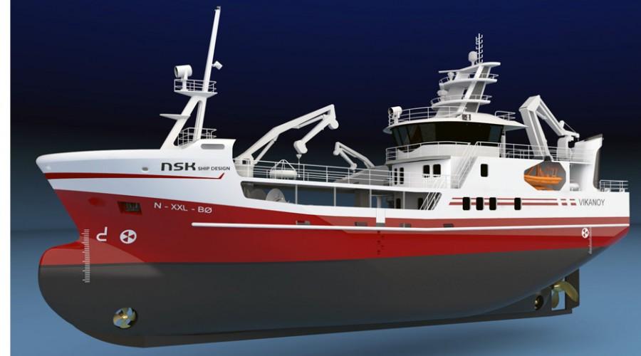 Nye Vikanøy blir bygd i Tyrkia og er designet av NSK Ship Design. Illustrasjon: NSK Ship Design