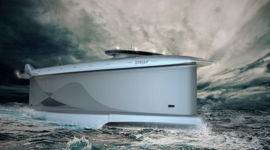 Vindskip er et hybrid fraktefartøy, utviklet av Lade AS ved Terje Lade. Illustrasjon: Lade