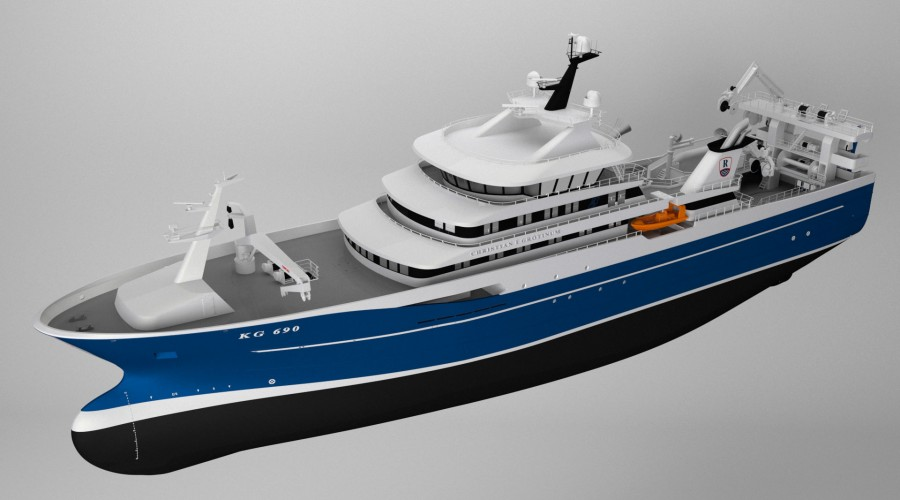 The new pelagic purser/trawler will be the largest fishing vessel yet built by Karstensens Shipyard.