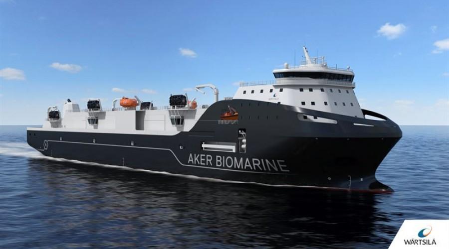 Det nye toppmoderne støttefartøyet til Aker BioMarine er designet av Wärtsilä, og det er utstyrt med en integrert pakke med fremdrifts- og miljøsystemer. Ill: Wärtsilä