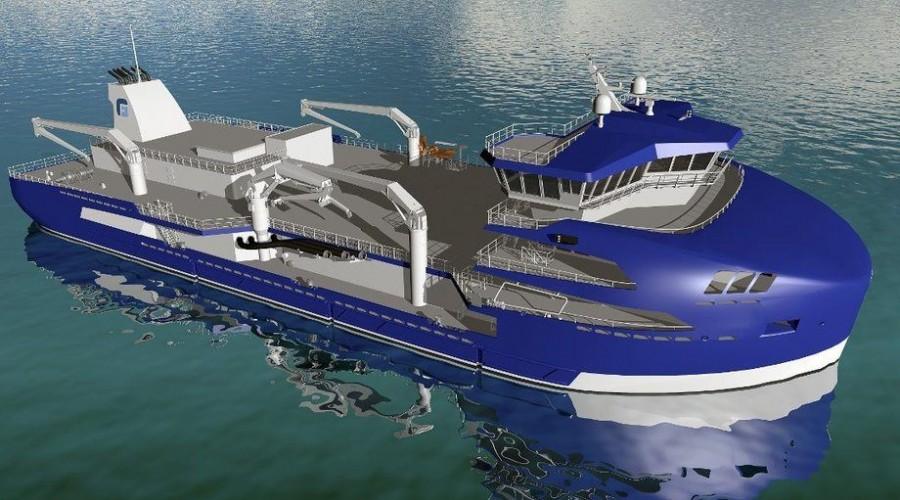 """Brønnbåten """"Gåsø TBN(To Be Named)"""" får verdens største kapasitet for en brønnbåt, og er av designtype Machoship 7500. Illustrasjon: Frøys Møre Maritime / Frøy Rederi"""