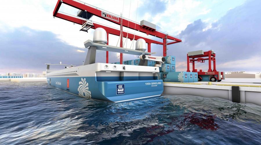 Yara Birkeland, verdens første elektriske, autonome frakteskip, bygges ved Vard Brevik. Ill: MacGregor