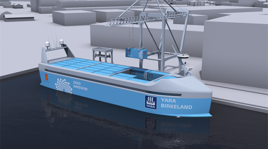 Illustrasjon av Yara Birkeland, slik man tenker seg det selvkjørende og utslippsfrie containerskipet vil se ut. Illustrasjon: Kongsberg