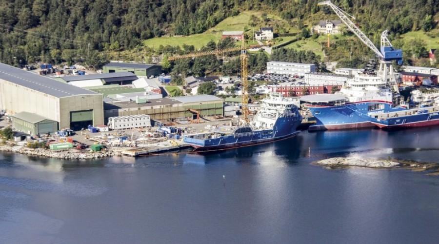 agens verft i Leirvik, der Havyard har samlet all skipsbygging. Foto: Havyard